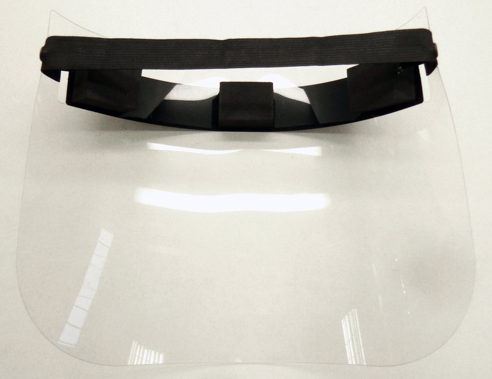 back of Face shield on table